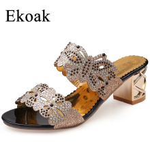 Ekoak 2017 New fashion rhinestone cut-outs women sandals Square heel Party summer shoes woman high heels sandals with Butterfly(China)