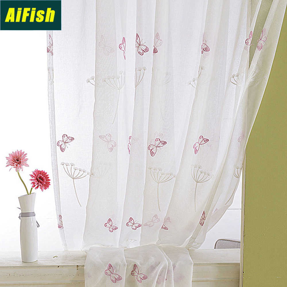 Embroidered Butterfly Dandelion Floral Tulle Curtains for Kitchen Bedroom Sheer Linen Drape Panels for Kids Girls Room WP2662