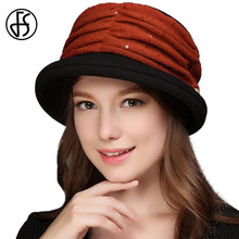 2017 Women Winter Wool Felt Hat Faux Pearl Decoration Elegant Church Hat For Lady Red Chapeu Feminino Fedora