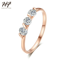 Rose Gold Color 3 Pieces AAA Cubic Zirconia Forever Wedding Rings anel Ladies Jewelry Rings Bijoux Wholesale R067 R068