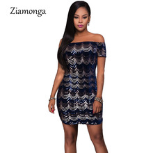 Ziamonga British Style Mini One-Piece Vestidos New 2017 Summer Dress Black Blue Crescent Embroidery Sequin Paillette Women Dress