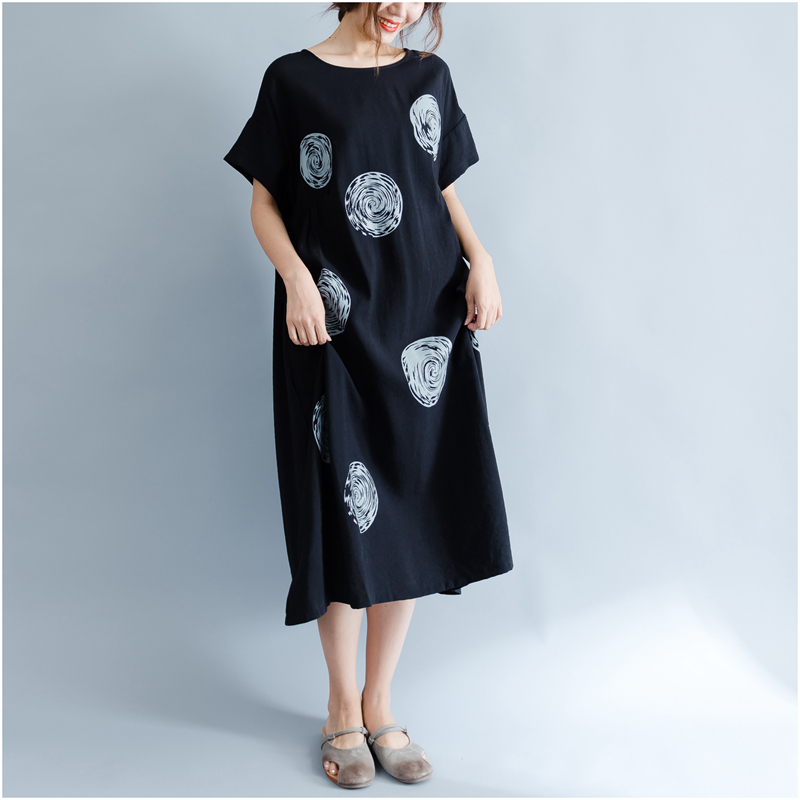 DIMANAF Women Summer Dress Big Size Cotton Linen Casual Soft Style Black Polka Dot Oversized Loose Female Sundress Clothing 2018 18