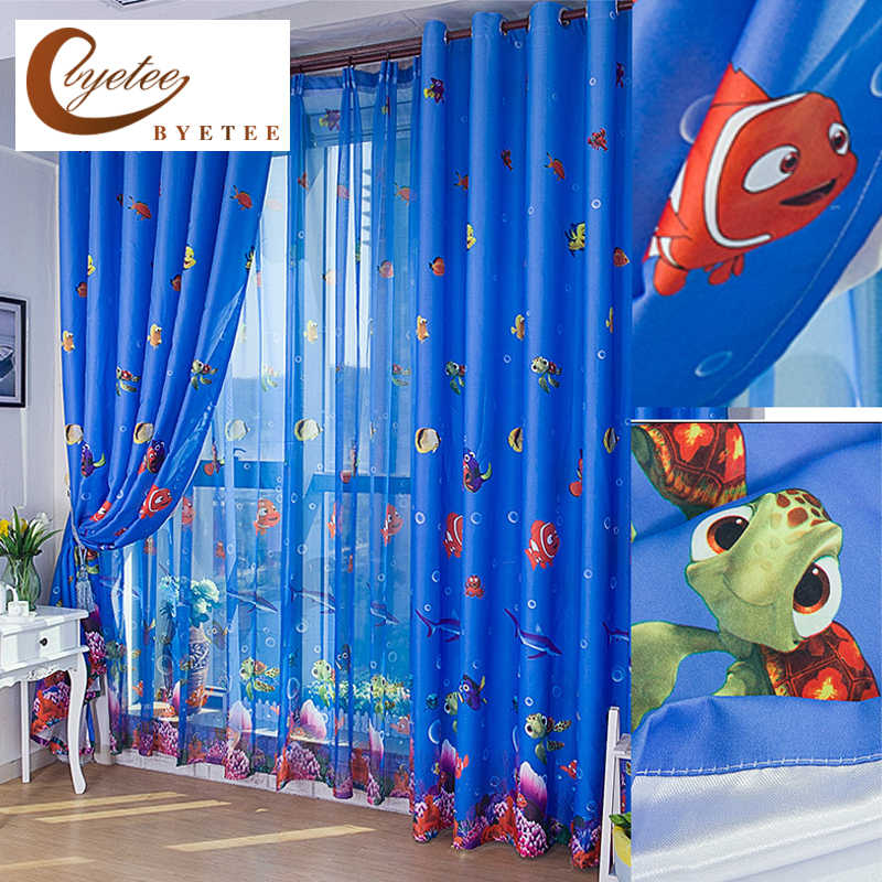 [byetee] Eco-friendly Blue Ocean Sea Fish Child Bedroom Window Curtain Tulle Sheer Curtain Cartoon Children Kids Window Curtains