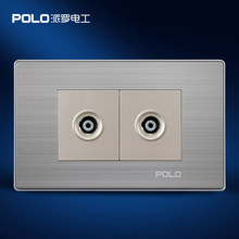 Free Shipping, POLO luxury wall socket panel,110~250V,118*72mm, Double TV socket, power electrical outlet, plug