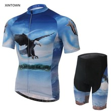 XINTOWN Cycling Jersey Ropa Ciclismo Mens Summer Shirts Bike Bib Trouser Shorts Sets Bicycle Wear Suit Eagle