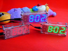 DIY Kits Electronic Microcontroller LED Digital Blue Clock Time Thermometer Alarm Clock &case