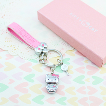 Metal Hello Kitty Keychain Pink Leather Belt KT Key Ring Auto Keyring Key Chain Key Holder Charm Pendant Girl Gifts Box Packing