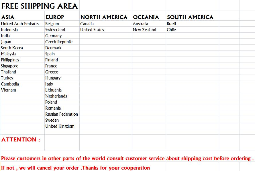 free shipping cost area