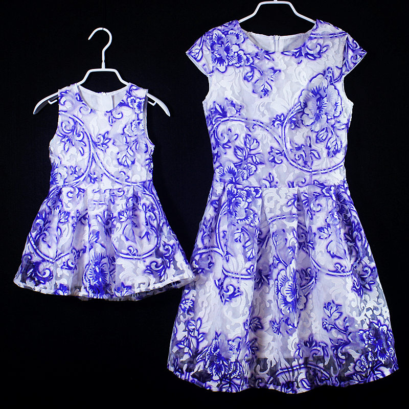Family look summer baby organza formal dress girls skirts mommy and girl dress kids party dresses mother daughter matching dress<br>