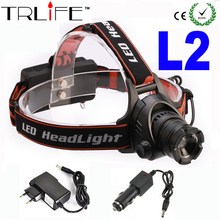 2017 New Headlamp 2500 Lumens CREE T6 / U2 LED 3 Mode Waterproof lantern Zoom Headlight For Hiking Camping + DC/CAR CHARGER