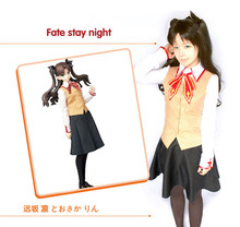 New Anime Fate Stay Night Tohsaka Rin Anime Cosplay Costume Full Set for women vestidos disfraces 3 in 1 waistcoat+ shirt+ skirt