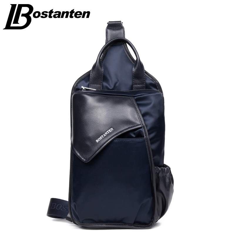 BOSTNATEN Canvas Man Casual  Messenger Bag Patchwork Men Shoulder Bag Chest Pack Bag Crossbody Sling Bag For Ipad<br>