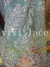 5yards HL376 silver leaf hand glued print glitter mint green tulle african India dress fabric for sawing /fashion design(China)
