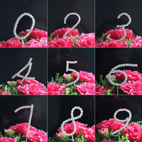 Wedding Cake Topper Marriage Anniversary Number Rhinestone Crystal Birthday Party Decoration Kids Supplies Craft 1PCS