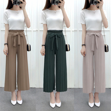 Elastic Waist Women Ankle Length Pants Female Pleated Trousers Girl Wide Leg Pants Loose Lady Capris Khaki/Gray/Green M L XL 30