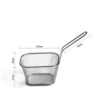 Hot sale stainless steel Mini Frying net square block French Fry Fryer tool Fried Net Kitchen Bar Kit drop shipping sale