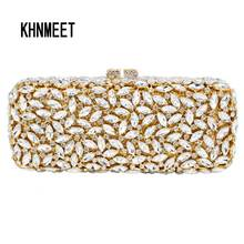 Gold Red long clutch chain bag Women Luxury Crystal Party Purse Rhinestones Bling Clutch purse sparkly lady evening bag Wristlet(China)
