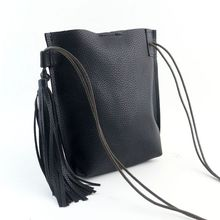 New Fashion PU Leather Barrel Bag Tassel Crossbody Bag Dinner Party Clutch Mini style suit for multi occasions(China)