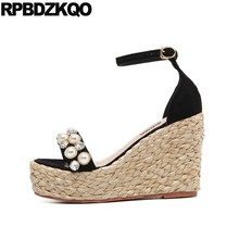 Cheap Pumps Shoes Ankle Strap High Heels Diamond Designer Women Wedge  Platform Sandals Pearl Black Espadrilles Rhinestone Rope 32cb6673fa13