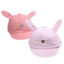 Cute Bunny Baby Baseball Cap with Long Ears Cartoon Cotton Infant Baby Hat for 7-24 Months 1 PC(China)