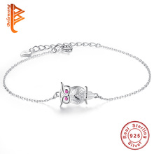 Buy BELAWANG Lovely Pink Eye Animal Owl Charm Bracelet 100% 925 Sterling Silver Jewelry Adjustable Chain Bracelet Women Girls for $6.16 in AliExpress store
