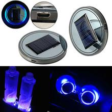 2Pcs Car Truck Solar Energy Cup Holder Bottom Pad LED Light Cover Mouldings Trim Car Truck USB Charging Lights CSL2017(China)