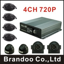 Shuttle Bus DVR kit, 2 inside car camera+2 side view car camera, 720P resolution, DIY installation