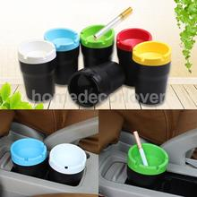 Colorful Portable Car Ashtray Cylinder Plastic Cigarette Butt Bucket Fits Cup Holder Auto Accessory Extinguishing Bin Men Gift(China)