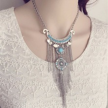 HOT Bohemian Long Tassel Necklace Women Vintage Necklace Antique Silver Green Stone Jewelry Statement Necklace For Women(China)