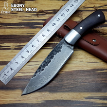 LCM66 High quality, New High-carbon Steel Handmade Forged Damascus Hunting Knife Steel head + rare ebony ebony handle tool(China)