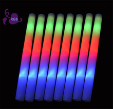 100pcs/lot Flash toy multi color flash light toy led foam stick led foam baton glow stick for wedding party concert props(China)