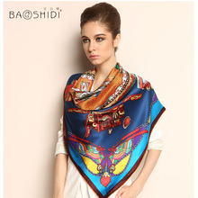 BAOSHIDI Luxury Brand original design, 100% Pure Silk Women Square Pattern Scarf , large shawl wrap for all occasions, hand made
