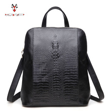 Raged Sheep Women Genuine Leather Backpack 3D Crocodile Women BackPack Daily Bags For Girls College Female Fashion Shoulder Bags(China)