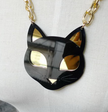 Fashion Metal Gold Chain Acrylic Punk Black Cat Necklace Female Night Club Jewelry Accessories