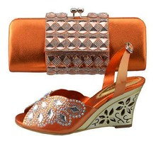 Free shipping by DHL,   Italian design Shoes and Bag, with many shine stone, match dress 1308T04 orange