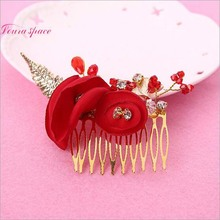 Loura Shace Vintage Red Wedding Bridal Hair Comb Flowers Tiaras With Alloy Drill Crystal Beads Hair Combs Bride Jewelry