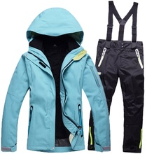 Snow Skiing Suit For Women Water Windroof Skiing jacket & snow bib set Female Ski Boarding Clothing Thermal Minus -30 Degree