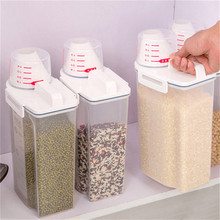 Kitchen Storage Organizer 4L Grain Storage Container Rice Holder Box Cereal Bean Container Sealed Box With Measuring Cup