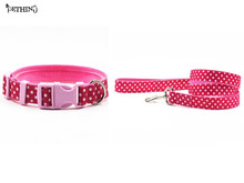 Nylon circle dot style dog collar leash mixed color S L dog collar lead for small medium-size dog brands