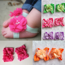 2014 NEW Wholesale 10Pair/lot Baby Footwear Barefoot sandals Chiffon Pearl crystal Flower shoes 16Color baby kids shoes