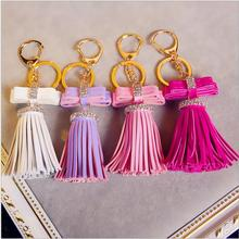 New Style Fashion ladies pu leather Tassels Keychain Rhinestone bow decoration key ring pendant diy phone shell accessories