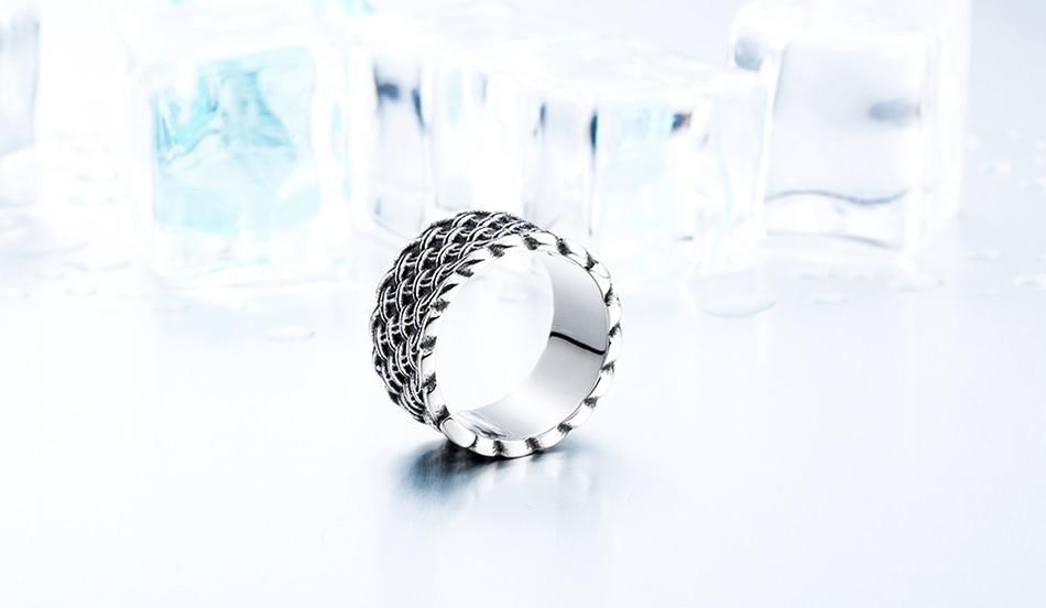 แหวนโคตรเท่ห์ Code 037 แหวนแนวโกธิคลายถักไวกิ้ง เท่ห์ดุแบบเรียบๆ สแตนเลส13