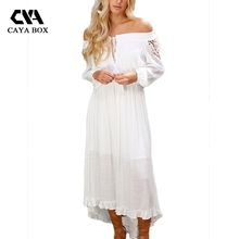 Buy CAYA BOX Cut Shoulder Long Sleeve White Dress Women Clothings Lace Boho Long Dresses Ladies for $18.34 in AliExpress store