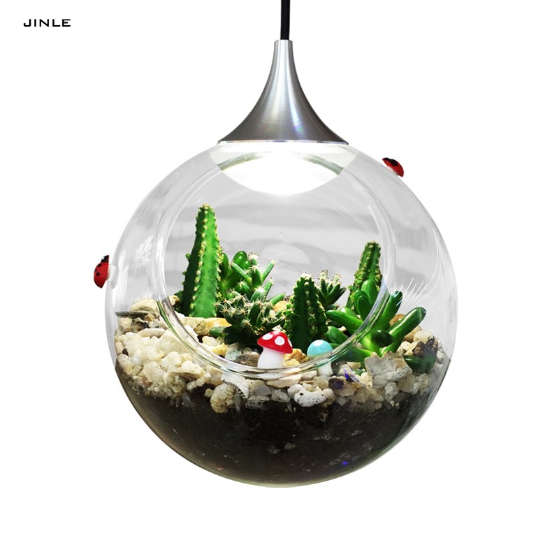 Modern clear glass lampshade chandelier Plant landscape lamp Led light parlor office kitchen ball shape hallowmas droplight <br>