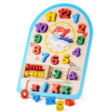 2017 Baby Kids Blocks Early Learning Building Blocks Educational Wooden Clocks Toys Time Clock children's Educational Toys Gifts