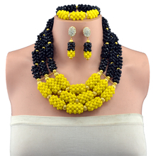 Pretty Black and Yellow Crystal Bead Plated Gold Balls Crystal Necklace Set Party Costume Jewellery Set Wholesale Price(China)