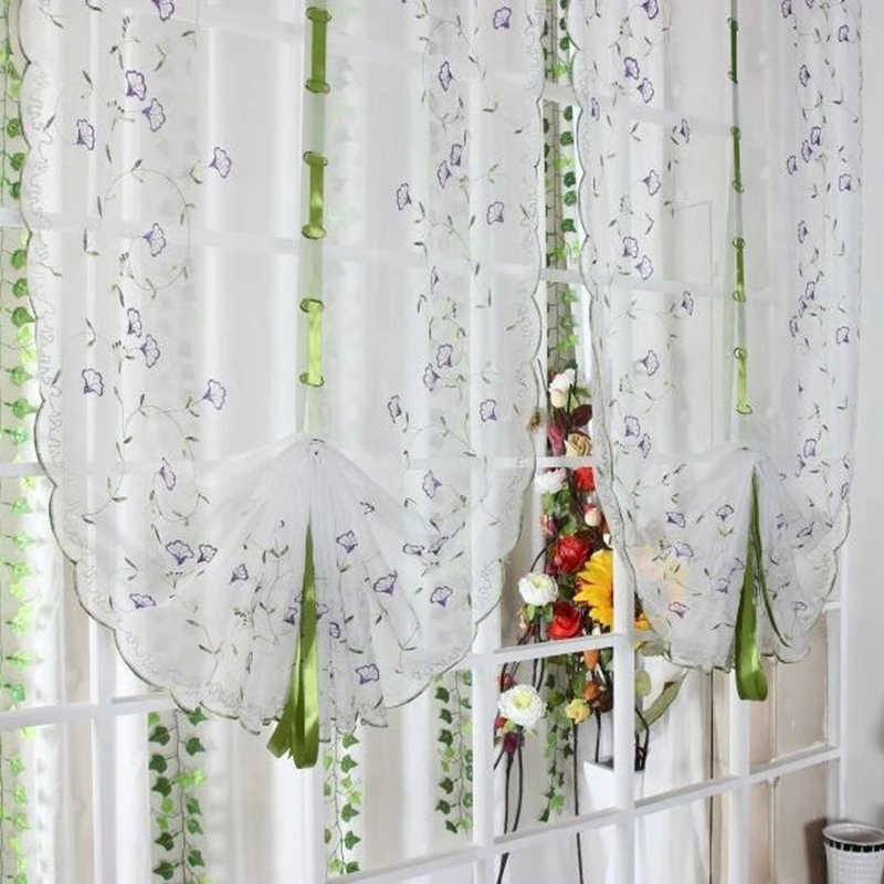 White Voile Embroidery Fabric Tulle Curtains for Kitchen Bedroom Living Room Window Roman Blinds Purple Flower Pattern