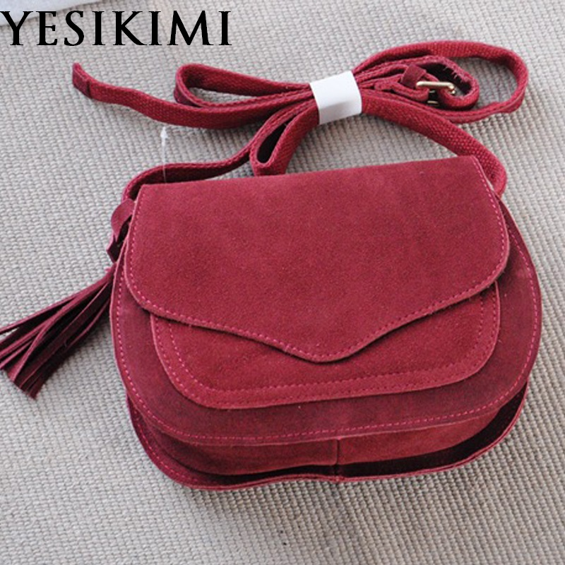 YESIKIMI Genuine Leather Bags For Women Vintage Suede Tassel Shoulder Bag Retro Feminine Small Saddle Bolsos Nubuck leather<br>