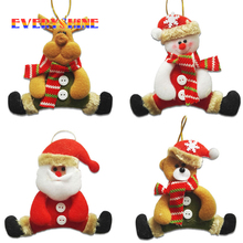 New 6pcs/lot Santa Claus Snowman Reindeer Cloth Craft Doll Pendants Indoor Christmas Tree Hanging Ornaments Gifts Supplier SD292