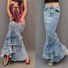 Sale Free Shipping New 2017 Jeans Fashion Long Denim Ball Gown Skirt For Women Slim Patchwork Tassel Mermaid High Waist Skirt